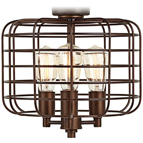 Industrial Cage Oil Rubbed Bronze Ceiling Fan Light Kit 7h387
