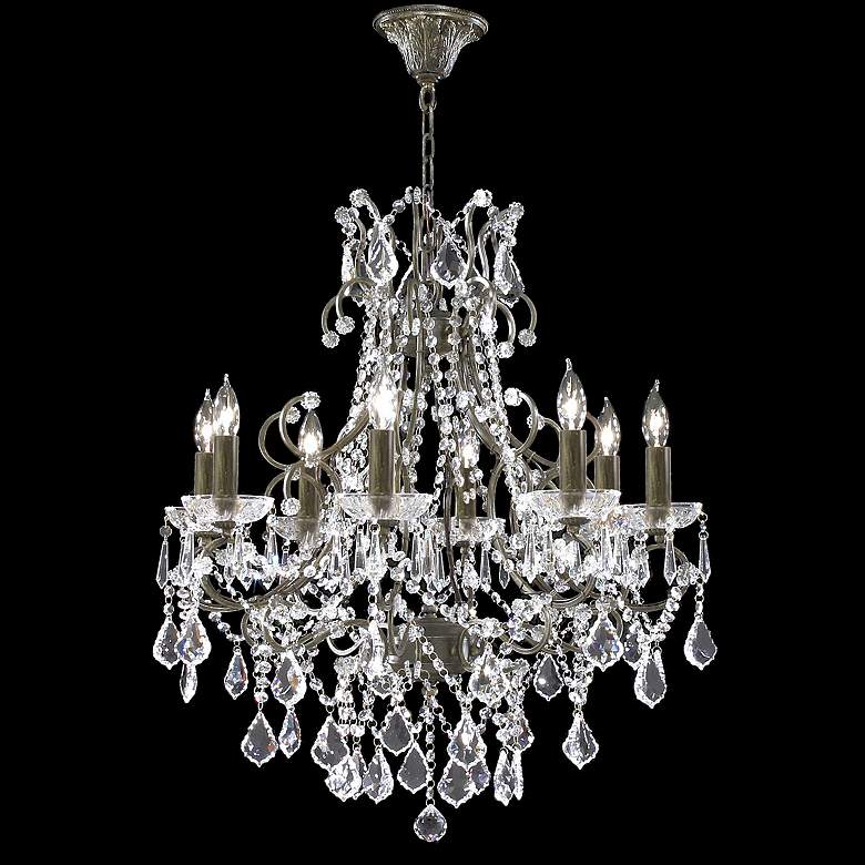 """James R. Moder 8-Light 28"""" Wide Bronze Crystal Chandelier"""