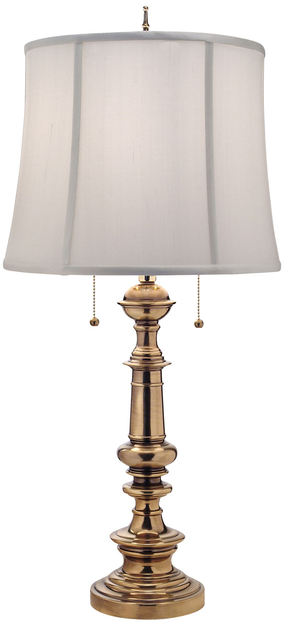 Exceptional Stiffel Burnished Brass Double Pull Chain Table Lamp
