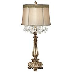 Dubois Console Table Lamp with Scallop Lace Trim