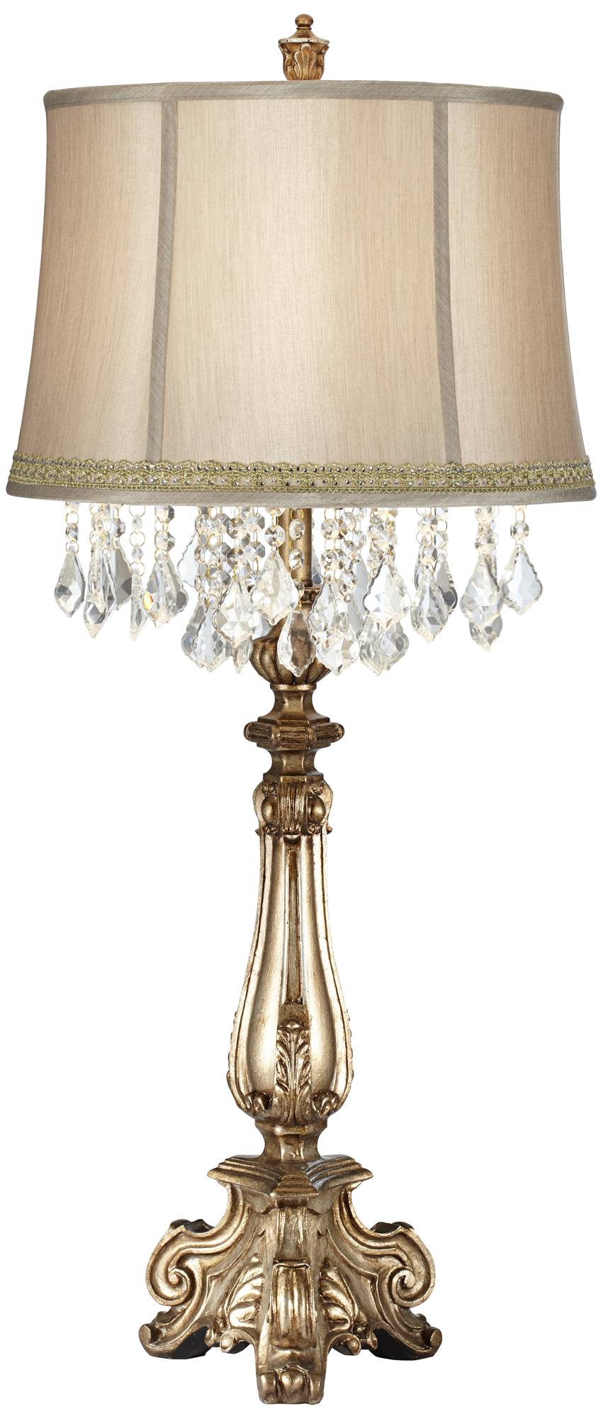 Dubois console table lamp with lace rhinestone trim