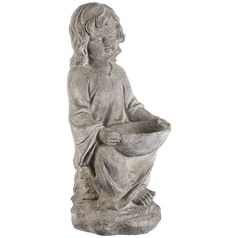 "Sitting Girl 24 1/2"" High Outdoor Bird Bath Statue"