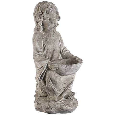 "Sitting Girl 24 1/2"" High Outdoor Bird Bath Statue"