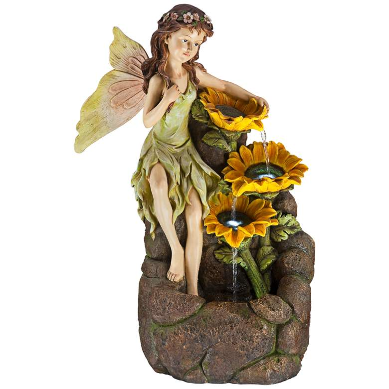 """Garden Fairy with Sunflowers 26"""" High Floor Fountain"""