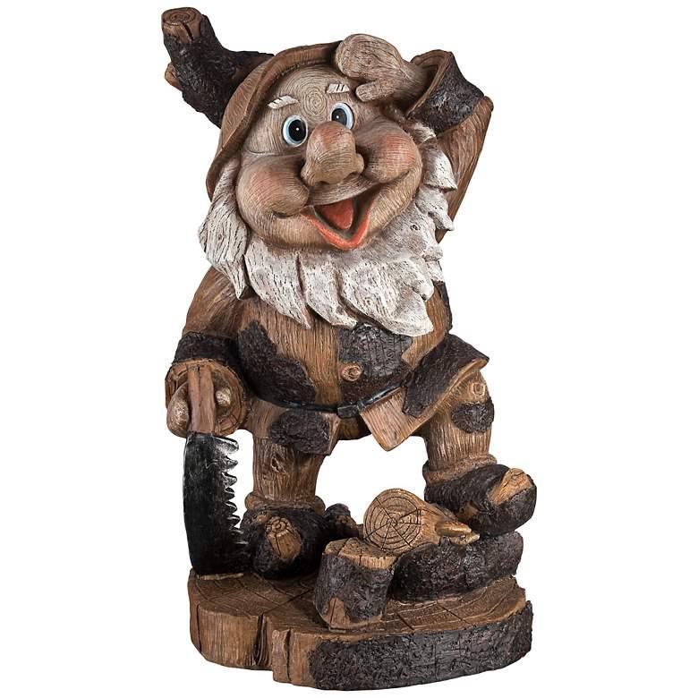 "Saluting Gnome Woodworker 15"" High Outdoor Garden Statue"
