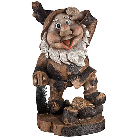"Saluting Gnome Woodworker 15"" High Outdoor Garden Statue"