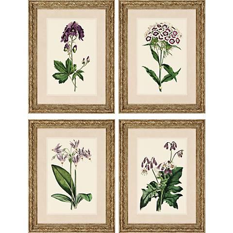 """Lavender Floral 4-Piece 26"""" High Framed Wall Art Set"""