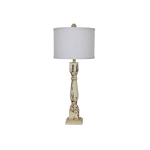 Crestview Collection Column Antiqued White Table Lamp