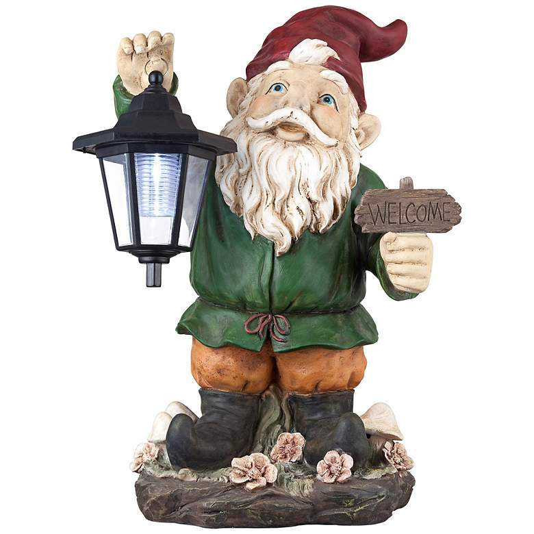 """Welcome Gnome with Lantern 16"""" High Outdoor Garden Statue"""