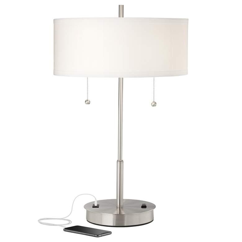 Nikola Metal Table Lamp with USB Port and Utility Plug