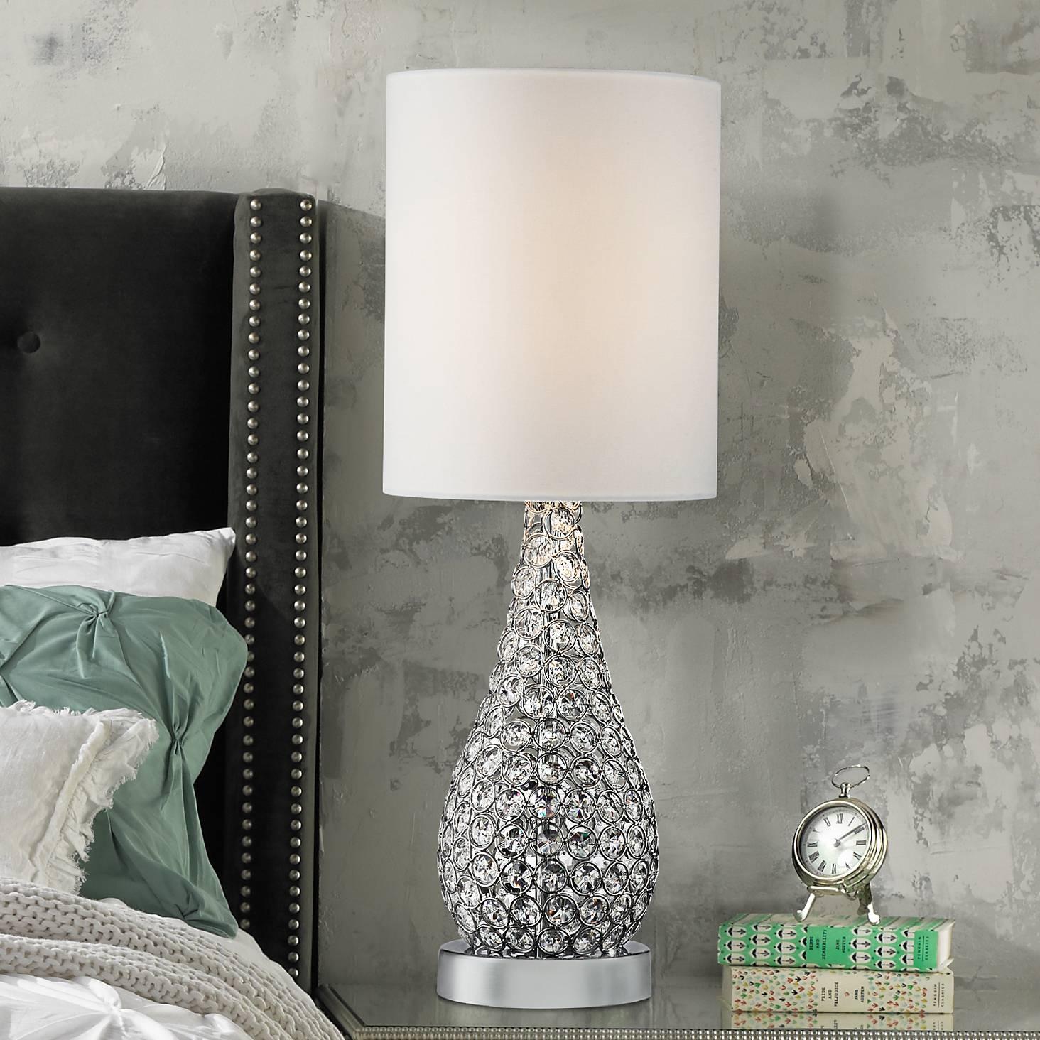 Table Lamp Crystal Bead Silver Gourd