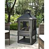 "Monticello 360-Degree 45 1/2"" High Black Steel Firepit"