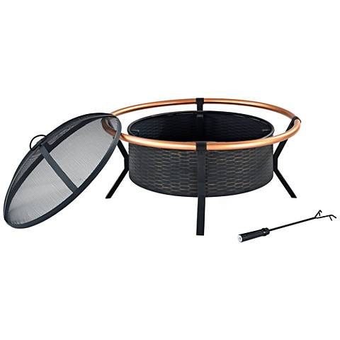 "Yuma Copper Ring 30"" Wide Black Steel Outdoor Firepit"