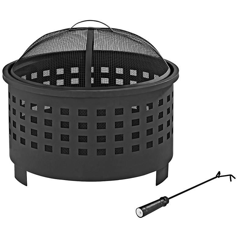 """Hudson Outdoor Basket Weave 25"""" Wide Black Steel Firepit"""