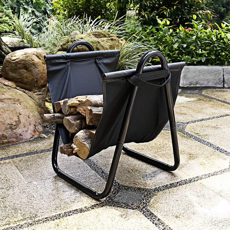 Logan Indoor-Outdoor Canvas and Steel Firewood Carrier Rack