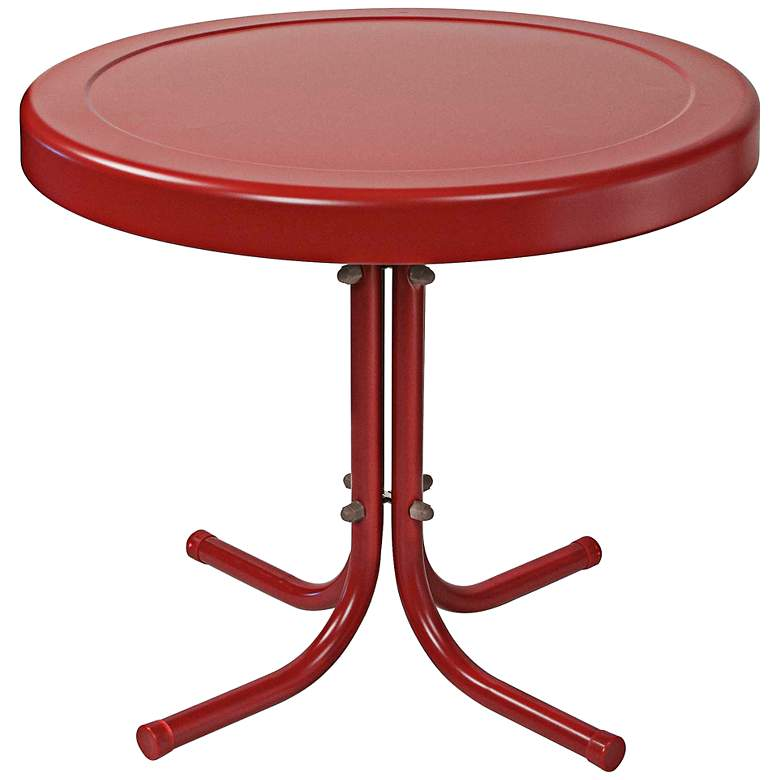 Griffith Coral Red Powdercoat Round Outdoor Side Table