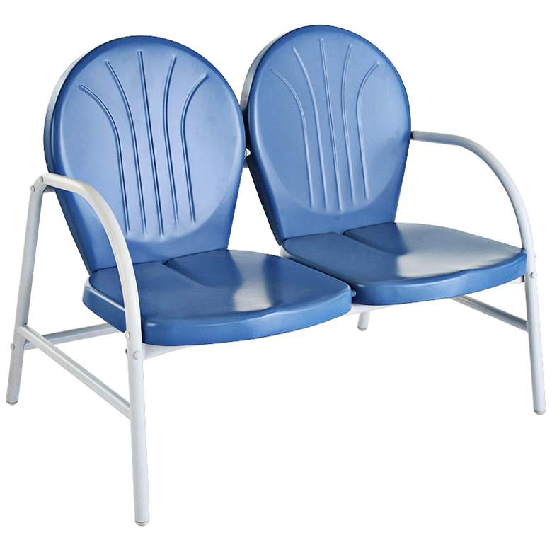 Griffith Nostalgic Sky Blue Metal Outdoor Loveseat