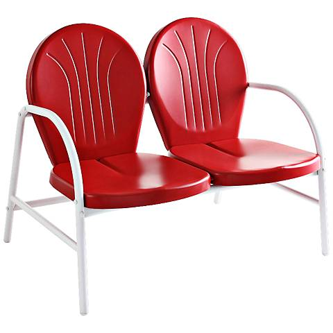 Griffith Nostalgic Bold Red Metal Outdoor Loveseat