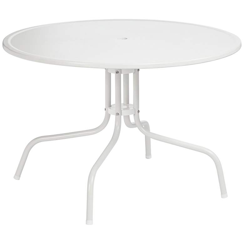 Griffith Round White Outdoor Dining Table