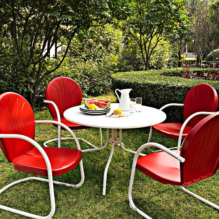 Red 5 Piece Outdoor Dining Set