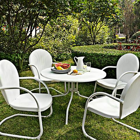 Griffith Nostalgic White 5-Piece Outdoor Patio Dining Set