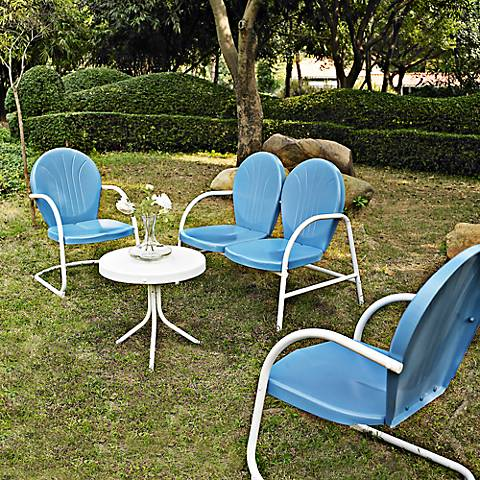 Griffith Sky Blue 4-Piece Outdoor Seating Patio Set
