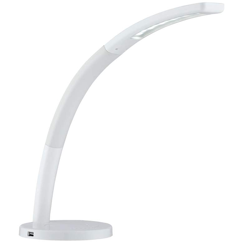 Spree White LED Desk Lamp with USB Port