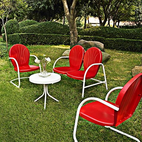 Griffith 4-Piece Red Loveseat Outdoor Conversation Set
