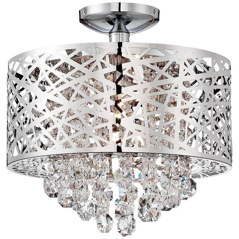 "Lite Source Benedetta 14"" Wide Cut Crystal Ceiling Light"