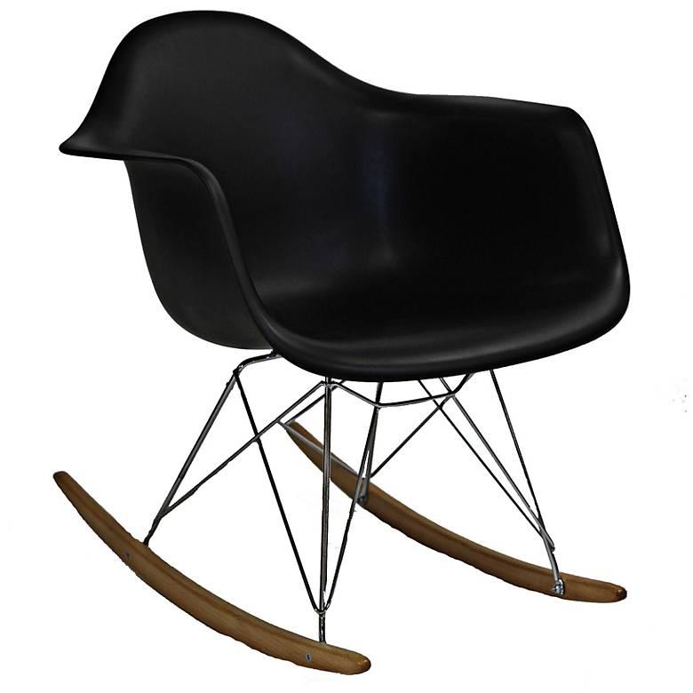 Phinnaeus Mid-Century Modern Black Rocker Lounge Chair