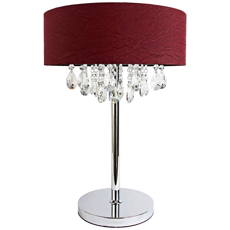 Crescenta Crystal and Chrome Red Shade Table Lamp
