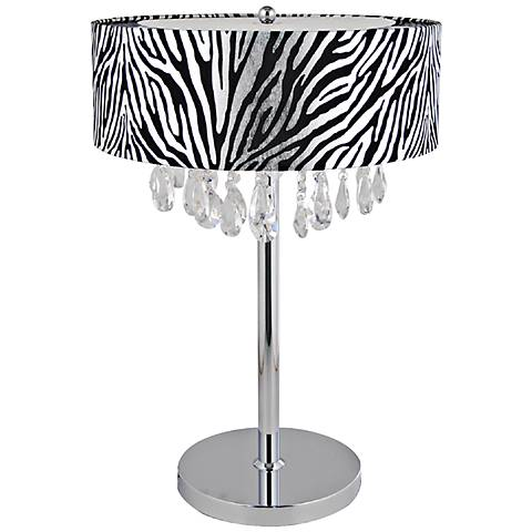 Crescenta Crystal and Chrome Zebra Shade Table Lamp