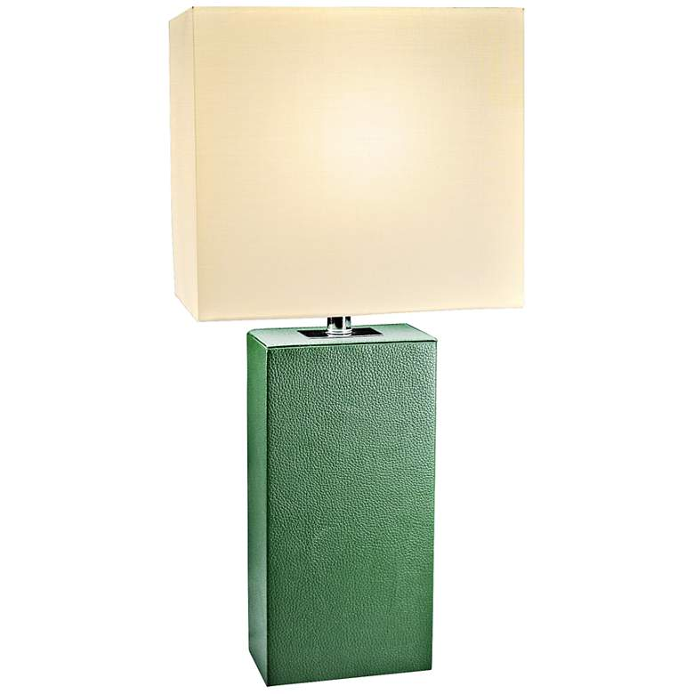 Lowden Green Leather Wrapped Table Lamp