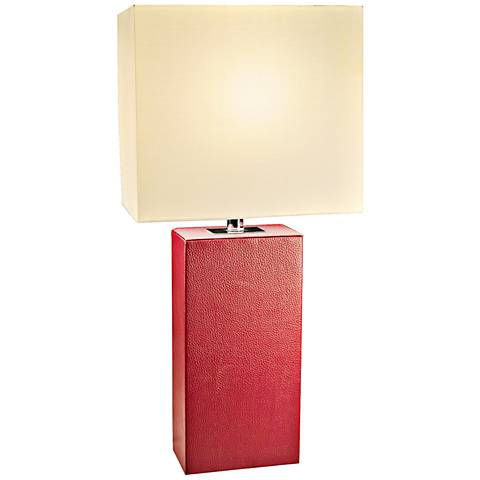Lowden Red Leather Wrapped Table Lamp