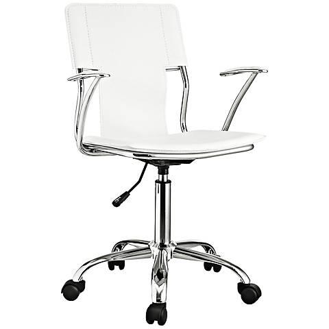 Studio Chrome White Swivel Office Chair