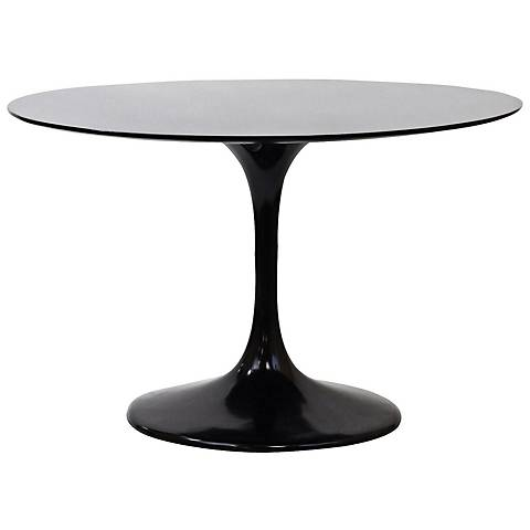 """Lippa 39"""" Wide High-Gloss Black Round Dining Table"""