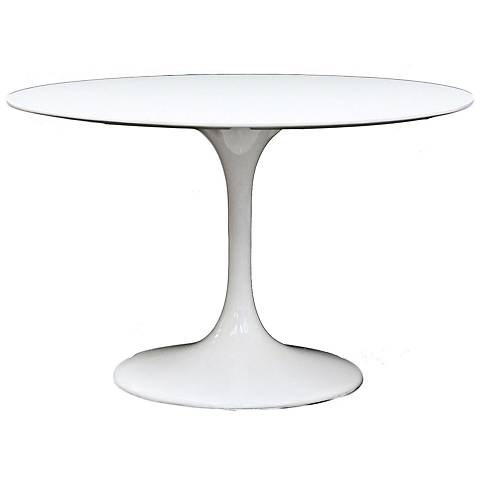 "Lippa 39"" Wide High-Gloss White Round Dining Table"