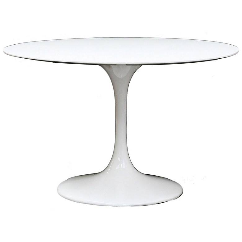 """Lippa 39"""" Wide High-Gloss White Round Modern Dining Table"""
