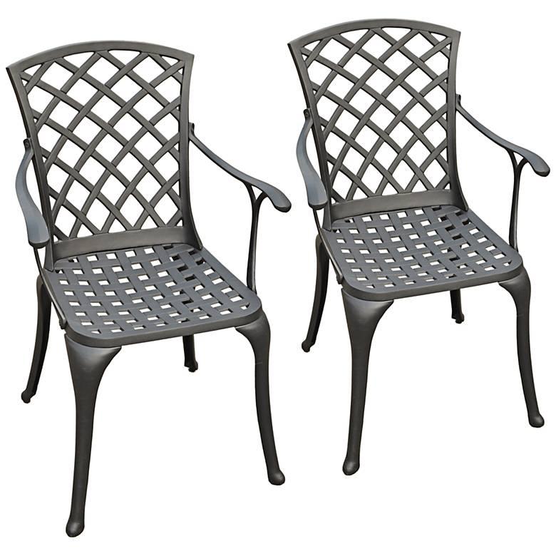 Sedona Charcoal Black Outdoor Highback Armchair Set of 2