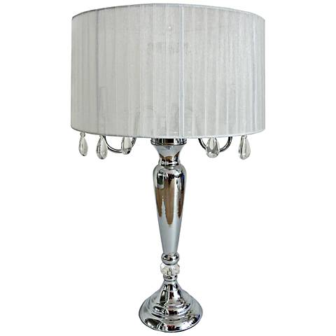 Pettit White Sheer Shade and Hanging Crystals Table Lamp