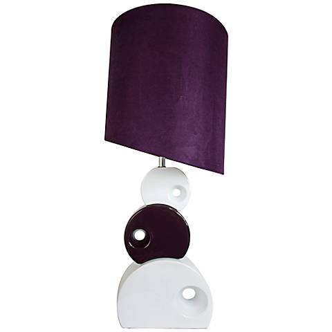 Selden Purple and White Stacked Circle Table Lamp