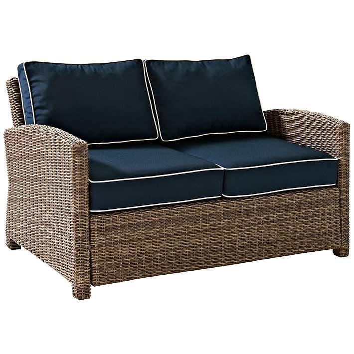Bradenton Rattan Wicker Navy Cushion, Loveseat Cushion Outdoor