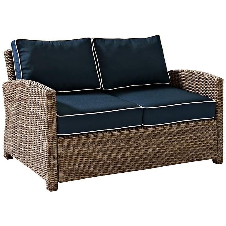 Incredible Bradenton Rattan Wicker Navy Cushion Outdoor Loveseat Dailytribune Chair Design For Home Dailytribuneorg