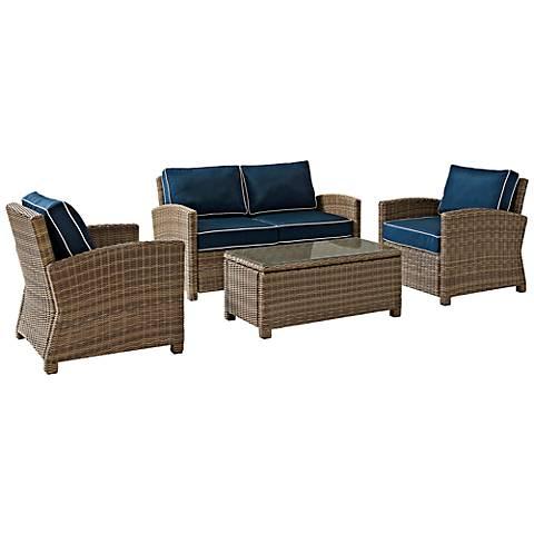 Bradenton 4-Piece Rattan Wicker Navy Outdoor Seating Set