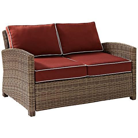 Bradenton Wicker Sangria Cushion Outdoor Loveseat