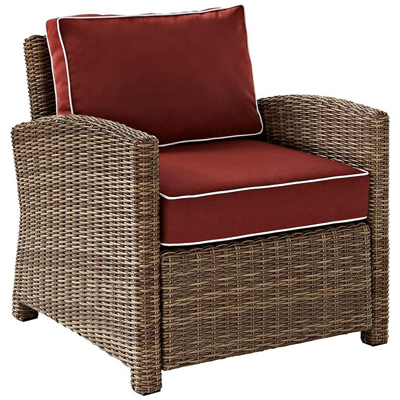 Bradenton Wicker Sangria Cushion Outdoor Armchair