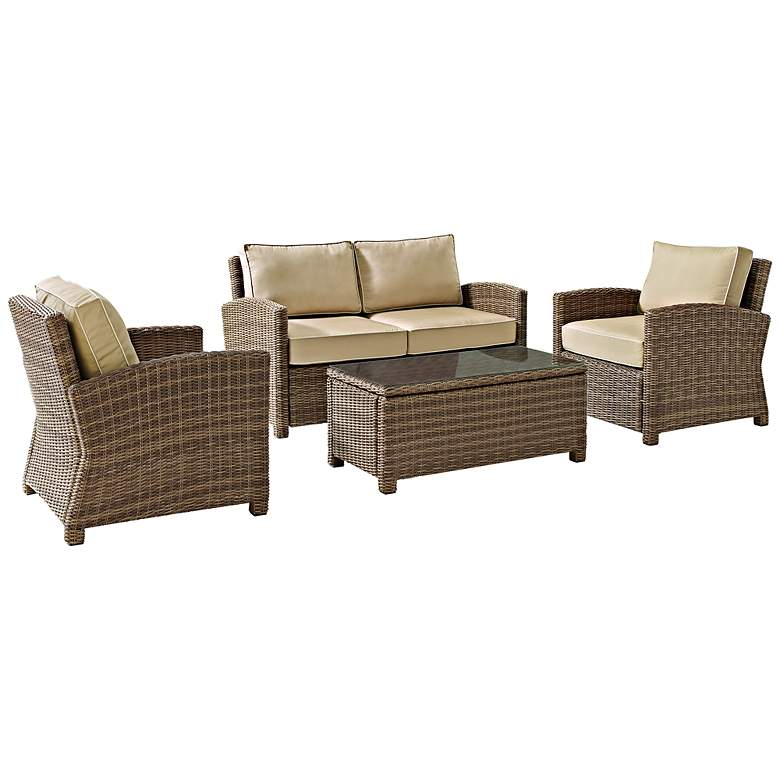 Bradenton 4-Piece Rattan Wicker Sand Outdoor Seating Set