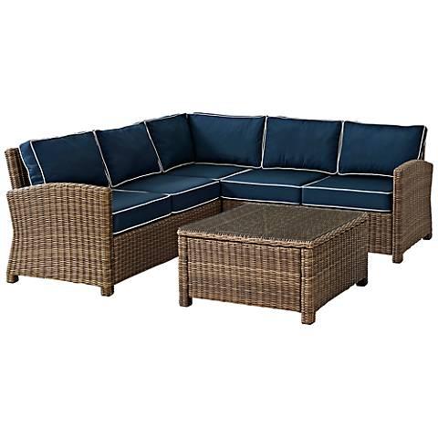 Bradenton Navy 4-Piece Outdoor Seating Sectional Patio Set