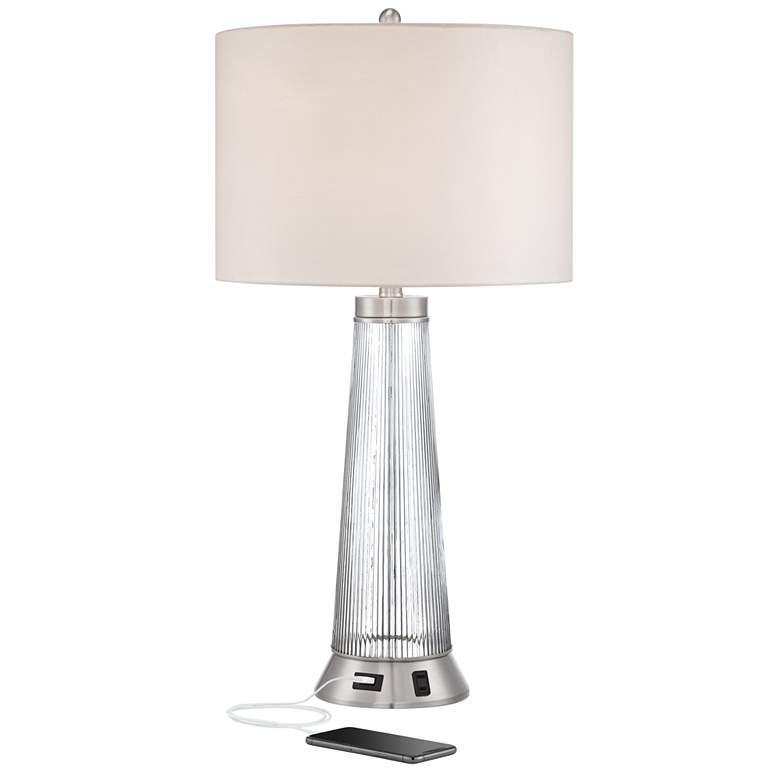 Hamish Metal and Glass USB Table Lamp with Outlet