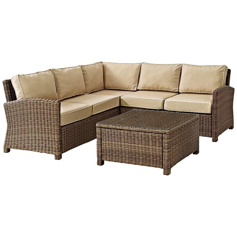 Bradenton Sand 4-Piece Outdoor Seating Sectional Patio Set